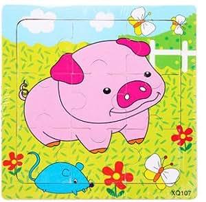 新品! 動物豚  9ピース  木製のおもちゃ パズル 誕生日のプレゼント  おもちゃ 知育玩具  幼児教育アプリシリーズ  知識を増すおもちゃ雑貨  木制品 zqzb0256-20