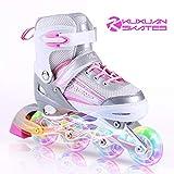 子供用 インラインスケート キッズ ローラースケート ジュニア 女の子 男の子 初心者 向け Inline skate サイズ調整可能 2カラーから選べる ピンク×グレー Lサイズ