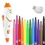 水性ペン スプレーアート 電動スプレーペン 子供 カラーペン 12色24本セット お絵かき ステンシル付き 男の子/女の子 水性マーカー おもちゃ (オレンジ色)