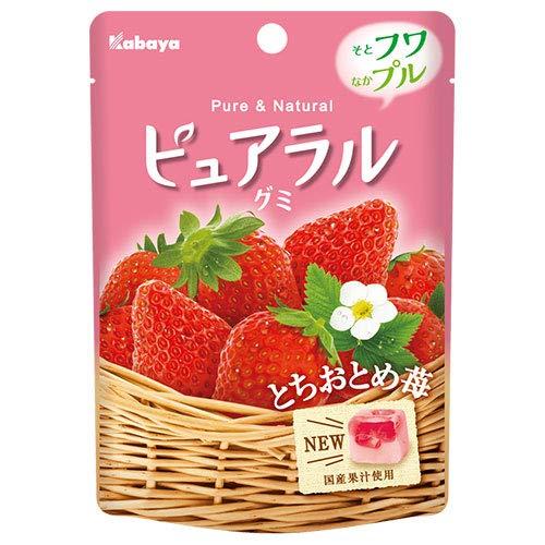カバヤ ピュアラルグミ とちおとめ苺 45g×8袋入×(2ケース)