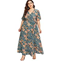 Romwe Women's Plus Size Floral Print Buttons Short Sleeve V Neck Flare Flowy Maxi Dress