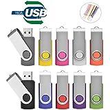 TEWENE USBメモリ 16GB 10個?#20114;氓?フラッシュメモリー フラッシュドライブ USBフラッシュメモリー 回転式 ストラップ付 10色ミックスグカラー (16GB)
