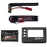 【LiPoバッテリー 4点セット】 ET1 ホワイトライン 7.4v 650mAh 電動コンパクトマシンガンタイプ(リポバッテリー+コネクタ+充電器+チェッカー)