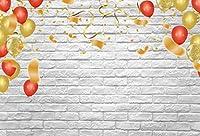 GooEoo 誕生日レンガのテーマの背景5 x 3フィートビニール写真背景風船で紙吹雪イベントパーティーの装飾白レンガの壁の背景赤ちゃん子供女の子写真スタジオプロップ