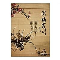 ZEMIN 竹 ウッドブラインド ローラー 長寿 HD 印刷 消えない カーテン 巻き上げる、 3色、 24サイズカスタム (Color : B, Size : 85x150cm)