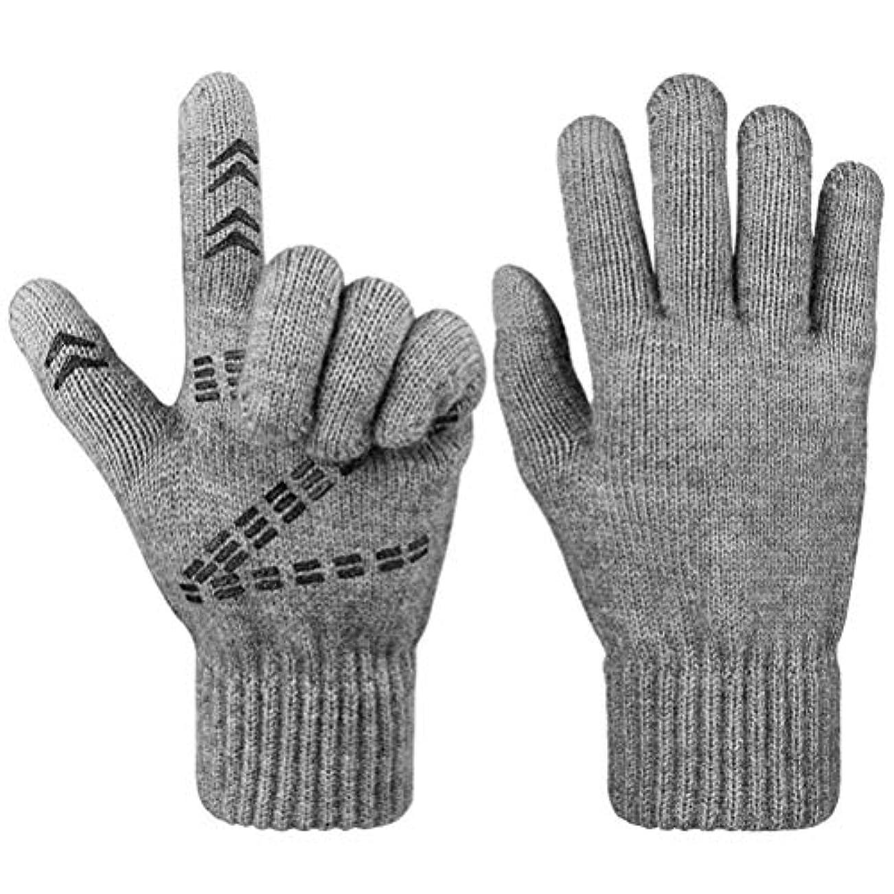 インスタント矩形感動するタッチスクリーン付き手袋、冬の冬のニットグローブノンスリップタッチスクリーンニット手袋アウトドアスポーツカップル手袋