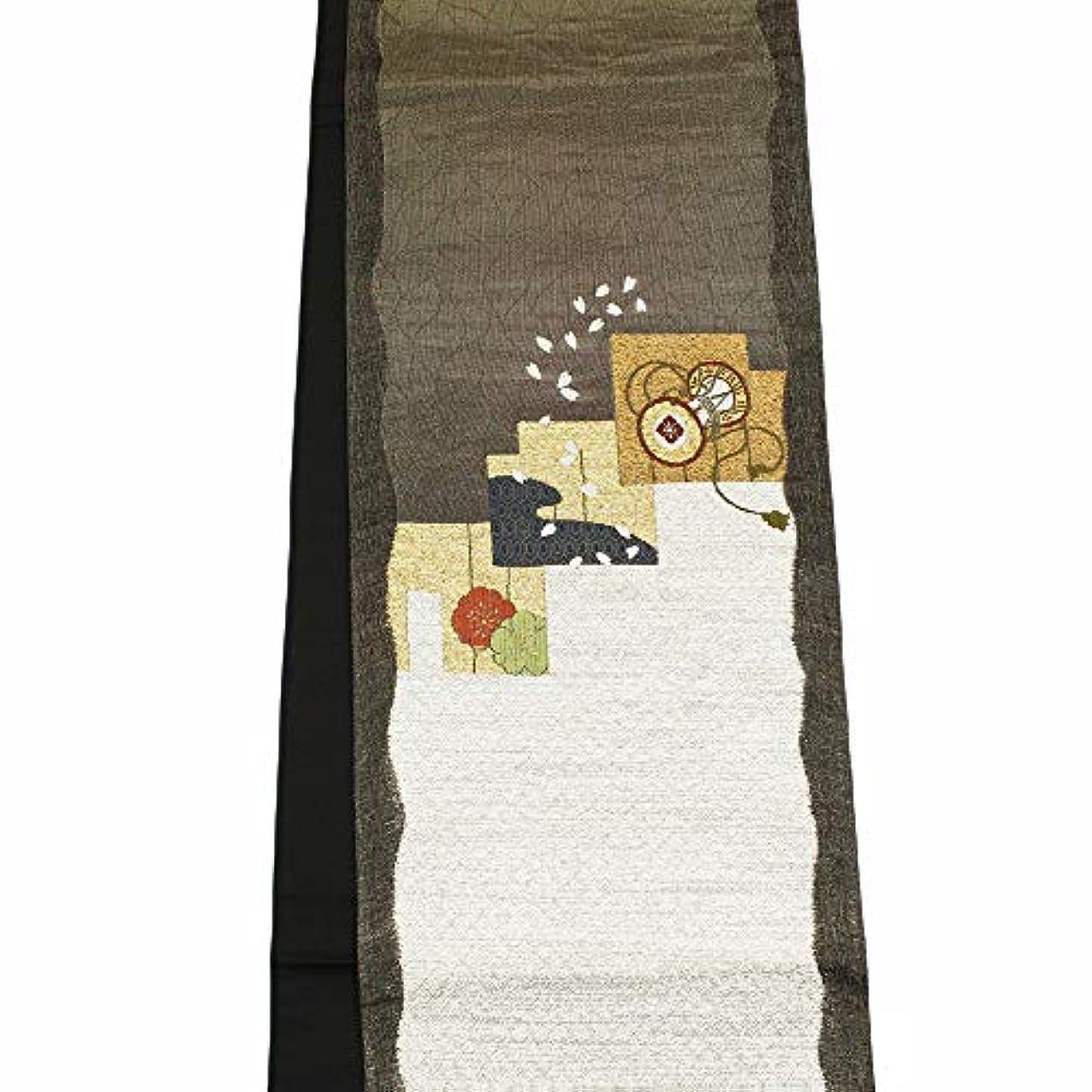 薬ベーコン完璧【訳あり】【正絹袋帯】【やや茶がかった濃いモスグリーン系/太いよろけ縞柄】 未仕立て 西陣織 お洒落着物【お仕立て承ります】