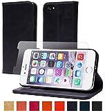 【steady advance】 最高級 本革 ( 牛革 ) iPhone 7 ケース 【 硬度 9H 液晶保護 強化 ガラスフィルム 】 セット アイフォン 7 用 手帳型 スマートフォン カバー マグネット式 カード ポケット 付 スタンド 機能 (iPhone7, スマルトブルー)