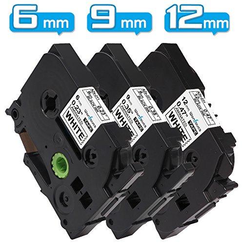ブラザー工業 ピータッチ テープ 12mm 9mm 6mm tzeテープ tze231 tze221 tze211 ラミネートテープ互換 白地黒文字 長さ8M 3種サイズ