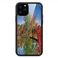 iPhone 11 Pro Max 用 強化ガラスケース クリア 薄型 耐衝撃 黒 カバーケース アジア人 日本庭園 iPhone 11 Pro 2019用 iPhone11ケース用