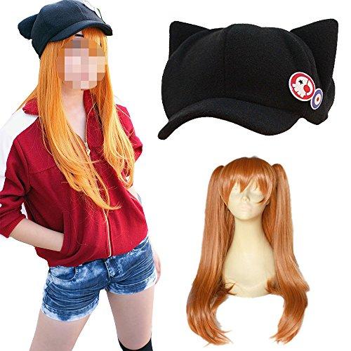 【コスプレ衣装+ウイッグ+帽子】新世紀エヴァンゲリオン エヴァ EVA  アスカ コスプレ 衣装 コスプレウイッグ 帽子 セット (女性XL)