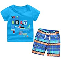 Little Boys Clothing Set 2pcs T-Shirt and Shorts Kids Clothes Cartoon Summer 2-7 Years (6-7 Years, Blue)