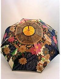 ノーブランド品 長傘 婦人 甲州産ほぐし織り辻が花風柄日本製 軽量ジャンプ雨傘