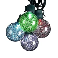 Kurt Adler UL 10-Light G40 Tinsel Balls LED Light Set, Silver [並行輸入品]