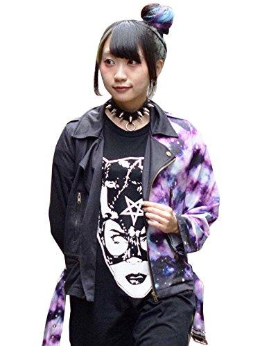 (エーシーディーシーラグ) ACDC RAG アンジ ライダースジャケット 猫 猫柄 ネコ柄 ねこ柄 宇宙柄 宇宙 ライダース ジャケット グッズ 服 原宿系 ファッション メンズ レディース ゆめかわいい かわいい パープル 紫