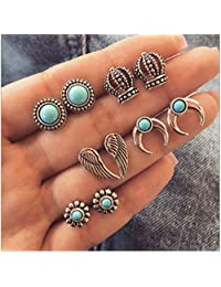 Zranda+ Five Pairs of Hollow Turquoise Ear Nails Combined Suit Fashion Personality Crescent Earrings