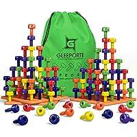 GLEEPORTE スタッキングペグボードセット おもちゃ ジャンボパック モンテッソーリ 作業療法 早期学習 細かい運動技能用 幼児や就学前のお子様に最適 プラスチック製のペグ60枚とボード3枚入り
