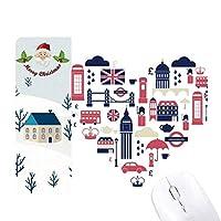 愛心臓ロンドンブリッジイギリスビッグベン、ロンドンアイイラストパターン サンタクロース家屋ゴムのマウスパッド