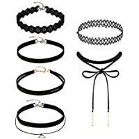 Mudder 6 Pieces Black Velvet Choker Necklaces Set Gothic Stretch Tattoo Choker Elastic Tassel Pendant Necklaces Women Girls