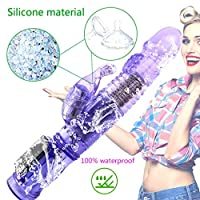 ZBZYXA ポータブル100%防水AVスティック360度回転マルチ周波数スイングウサギ人魚ターンビーズ用女性 Tシャツのズボン (Color : Purple)