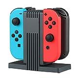 Lecxci Nintendo Switch Joy-Con 充電器 switch コントローラー 充電器  4台同時充電 指示ライト付き ブラック