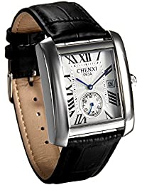 JewelryWe レトロ ファション メンズ 腕時計 ローマ字文字盤 日付表示 レザーバンド ウオッチ 通勤&通学用品-[シルバー]