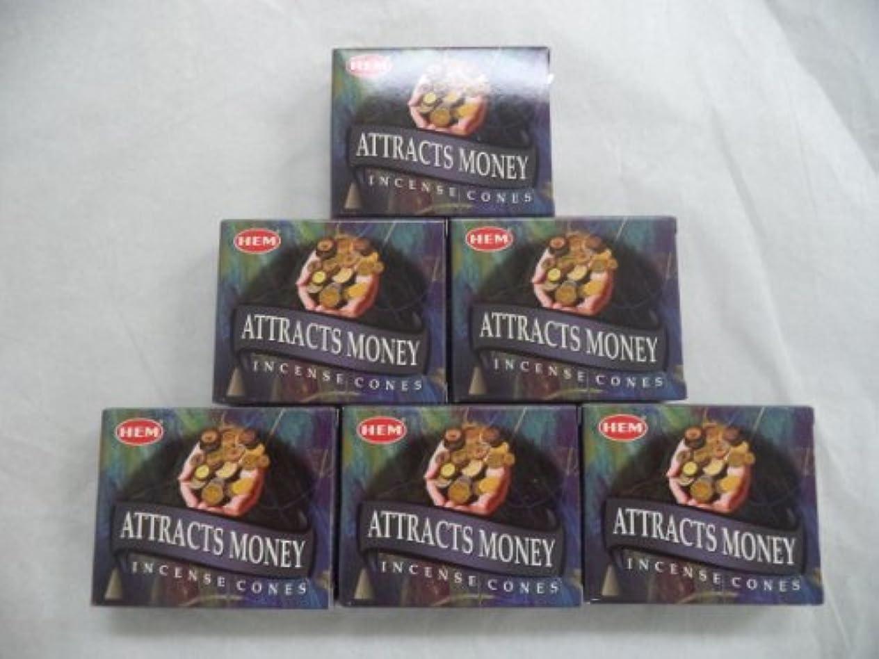 市長チャット記念日Hem Attracts Money Incense Cones、6パックの10 Cones = 60 Cones