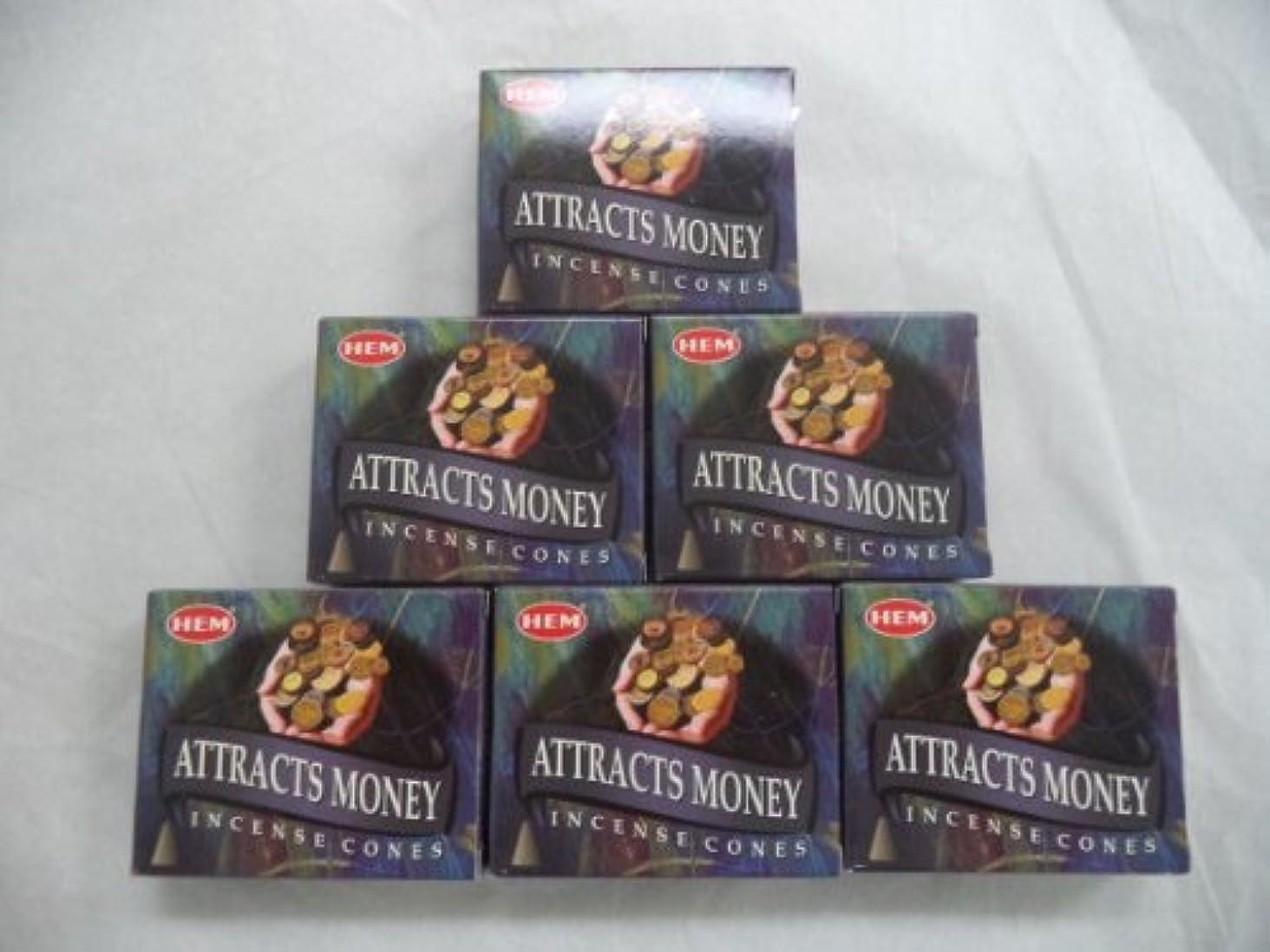 レーダー散逸部分Hem Attracts Money Incense Cones、6パックの10 Cones = 60 Cones