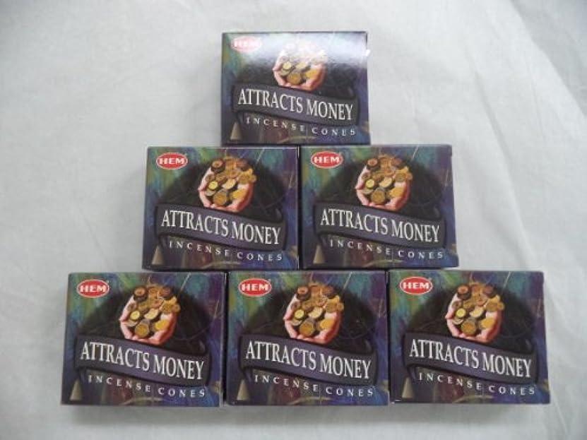 百年バルセロナ最愛のHem Attracts Money Incense Cones、6パックの10 Cones = 60 Cones