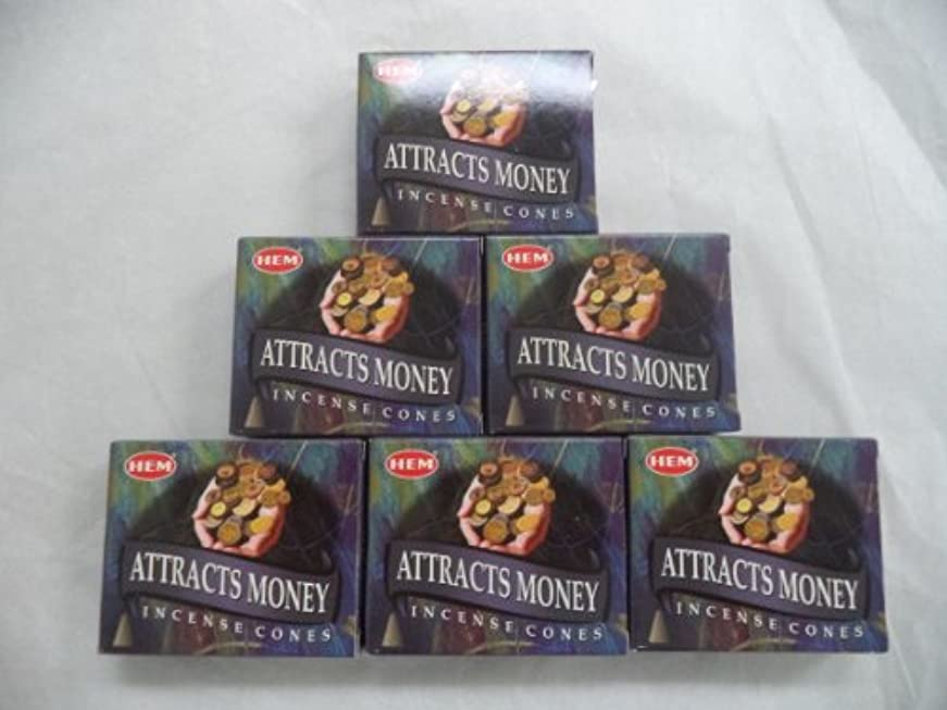 ローブ穴家畜Hem Attracts Money Incense Cones、6パックの10 Cones = 60 Cones