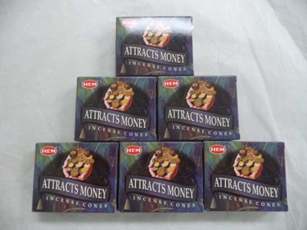 課す動作励起Hem Attracts Money Incense Cones、6パックの10 Cones = 60 Cones