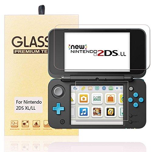Nintendo 2DS LL フィルム-HEYSTOP 任天堂 2DS LL ガラス フィルム- newニンテンドー2ds ll 液晶保護フィルム 自動吸着 クリスタル透明度 9H硬度 指紋防止 気泡ゼロ
