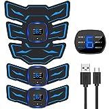 EMSIC EMS 腹筋ベルト 液晶表示 USB充電式 腹筋 腕筋 筋トレ器具 トレーニングマシーン 「6種類モード 9段階強度 日本語説明書付属」 (ブルー)