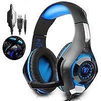 ゲーミングヘッドセット Beexcellent 軽量 PC ヘッドセット PCゲーム ヘッドホン 騒音抑制マイク付き ヘッドフォン LEDライト(ブルー)