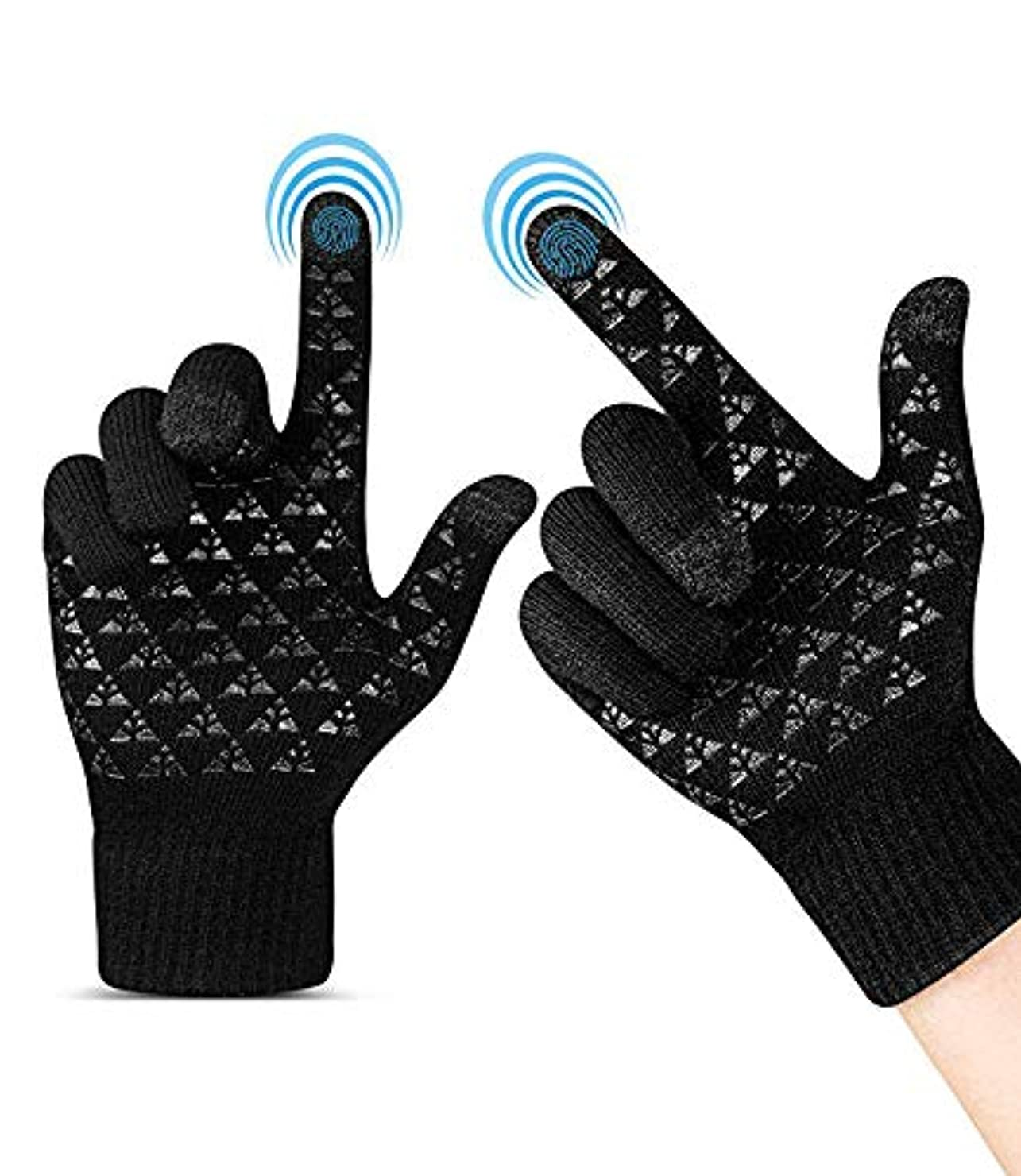 不規則な懸念周辺女性男性のための冬の暖かいタッチスクリーン手袋 - トライアングルアンチスリップシリコーンゲル、ニットサーマルソフトライニング&伸縮性カフ