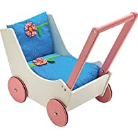 HABA Walk Along Dolly Wooden Doll Pram with Bedding & Adjustable Handle [並行輸入品]