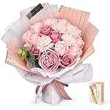 FAUHAL 造花 薔薇 カーネーション ブーケ フレグランス ソープフラワー プレゼント 石鹸花 枯れない花 入学式 結婚祝い 誕生日 母の日 父の日 定年祝い 新築祝い (ピンク)