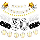 Best Happy to 50th Birthday Balloons Set - High Quality Birthday Theme Decorations for Fabulous 50 Years Old Party Supplies Silver Black Gold