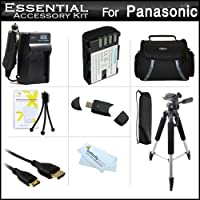 Essentialアクセサリーキットfor Panasonic Lumix DMC - dmc-gh3K、DMC - gh3、- gh4、dmc-gh4kbodyミラーレスミラーレスカメラIncludes Extended交換用(2100mAh) dmw-blf19eバッテリー+充電器+ケース+三脚+ + +