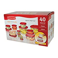 Rubbermaid Square Easy Find Lids食品プラスチックストレージコンテナセット、40ピース