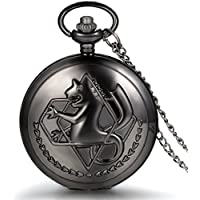 JewelryWe Vintage Fullmetal Alchemist Edward Elric's Pocket Watch Black with 31.9 Inches Chain