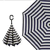 Amerzam 逆折り式傘 手離れC型手元 耐風 撥水 ビジネス用 車用傘 UVカット 晴雨兼用 傘カバー付き(ブラック/海軍縞)