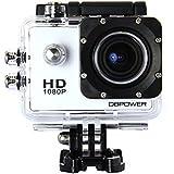 DBPOWER ウェアラブルカメラ 1080P フルHD 1200万画素 30メートル防水 170度広角レンズ バイク/自転車/車などに取り付け可能 アウトドアスポーツや空撮に最適 ホワイト