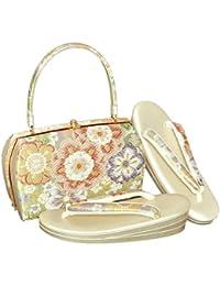 [ 京都きもの町 ] 草履バッグセット 礼装用 Lサイズ グリーン 流水に花模様 フォーマル <T>
