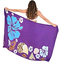 Island Style Clothing Sarong Shells & Hibiscus Floral Ladies Beach Cover Up + Coconut Clip