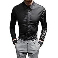 [eleitchtee] シャツ メンズ ワイシャツ 長袖シャツ 白シャツ カジュアルシャツ インナー トップス 大きいサイズ 015-sjxz228-1011(5XL ブラック)