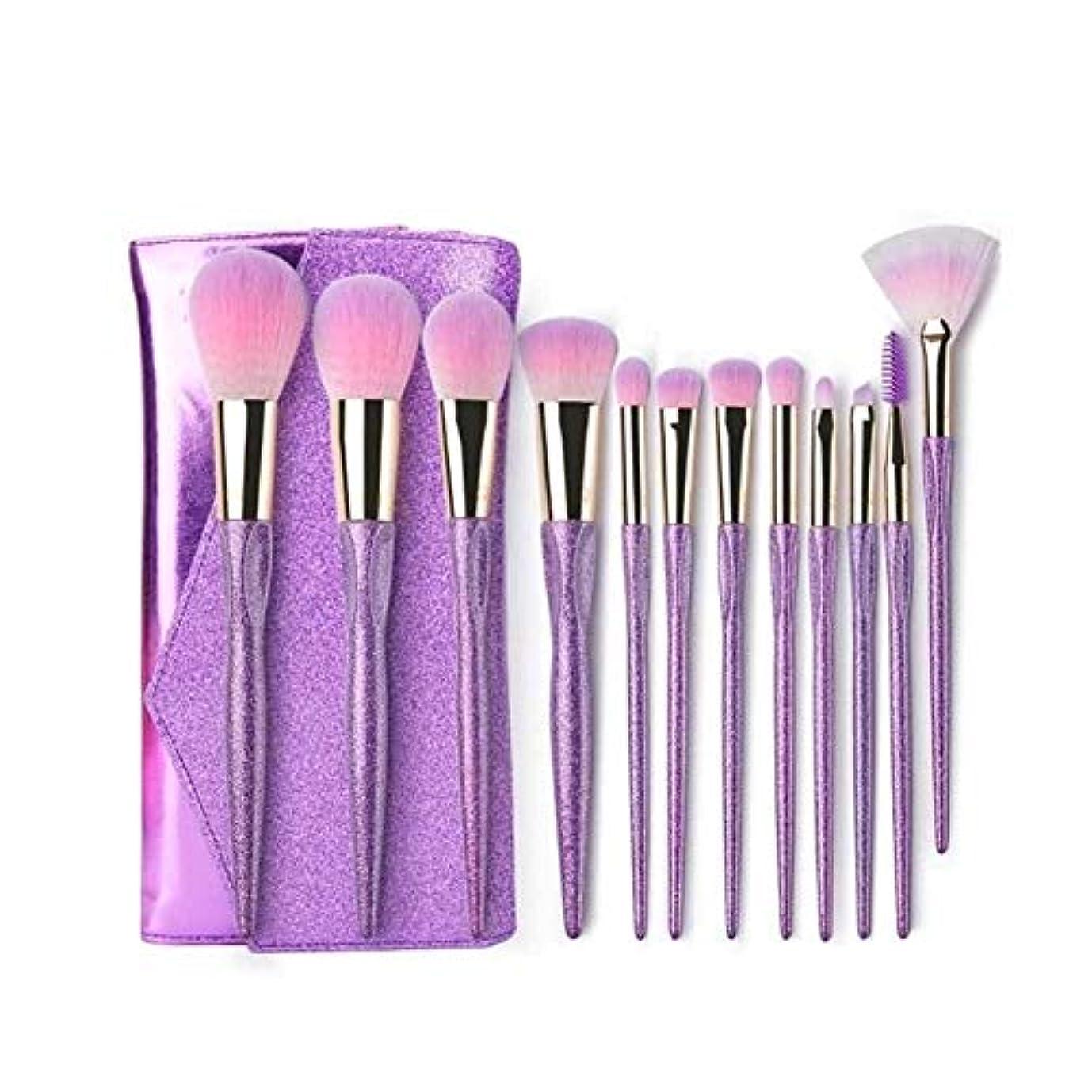 賃金道を作る命令XIAOCHAOSD メイクブラシ、12メイクブラシセット、ソフトで快適な毛、初心者メイクブラシ (Color : Purple)