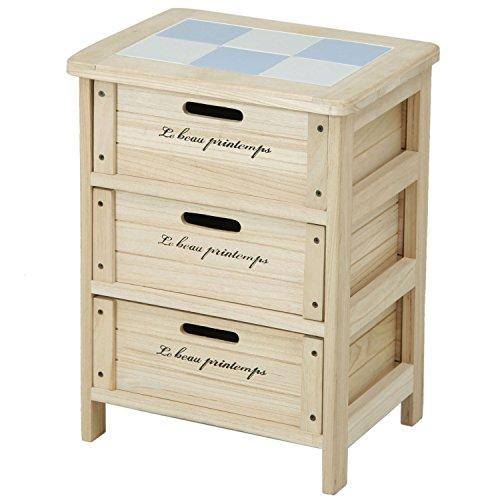 不二貿易 木製ボックス 3段 幅40cm ナチュラル 68093