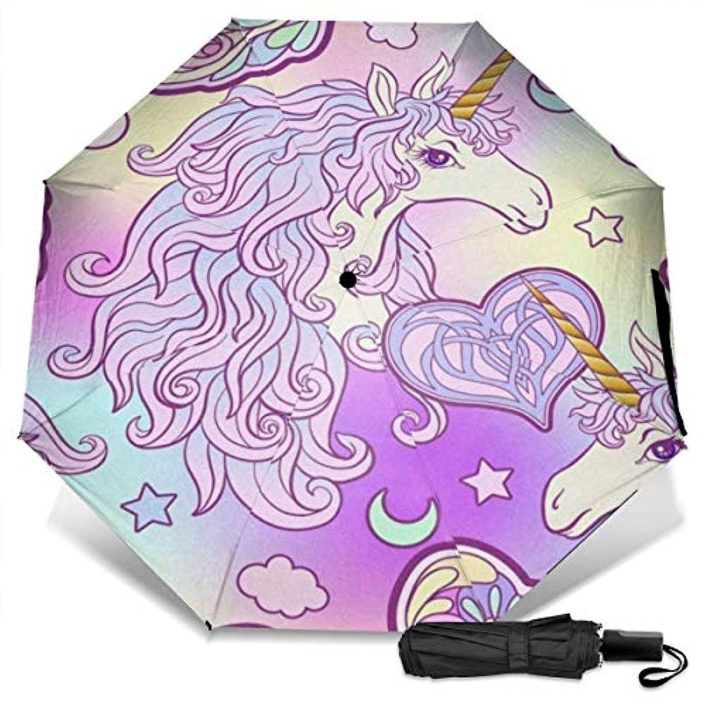十二先のことを考える壊れた水彩ユニコーンパープル日傘 折りたたみ日傘 折り畳み日傘 超軽量 遮光率100% UVカット率99.9% UPF50+ 紫外線対策 遮熱効果 晴雨兼用 携帯便利 耐風撥水 手動 男女兼用