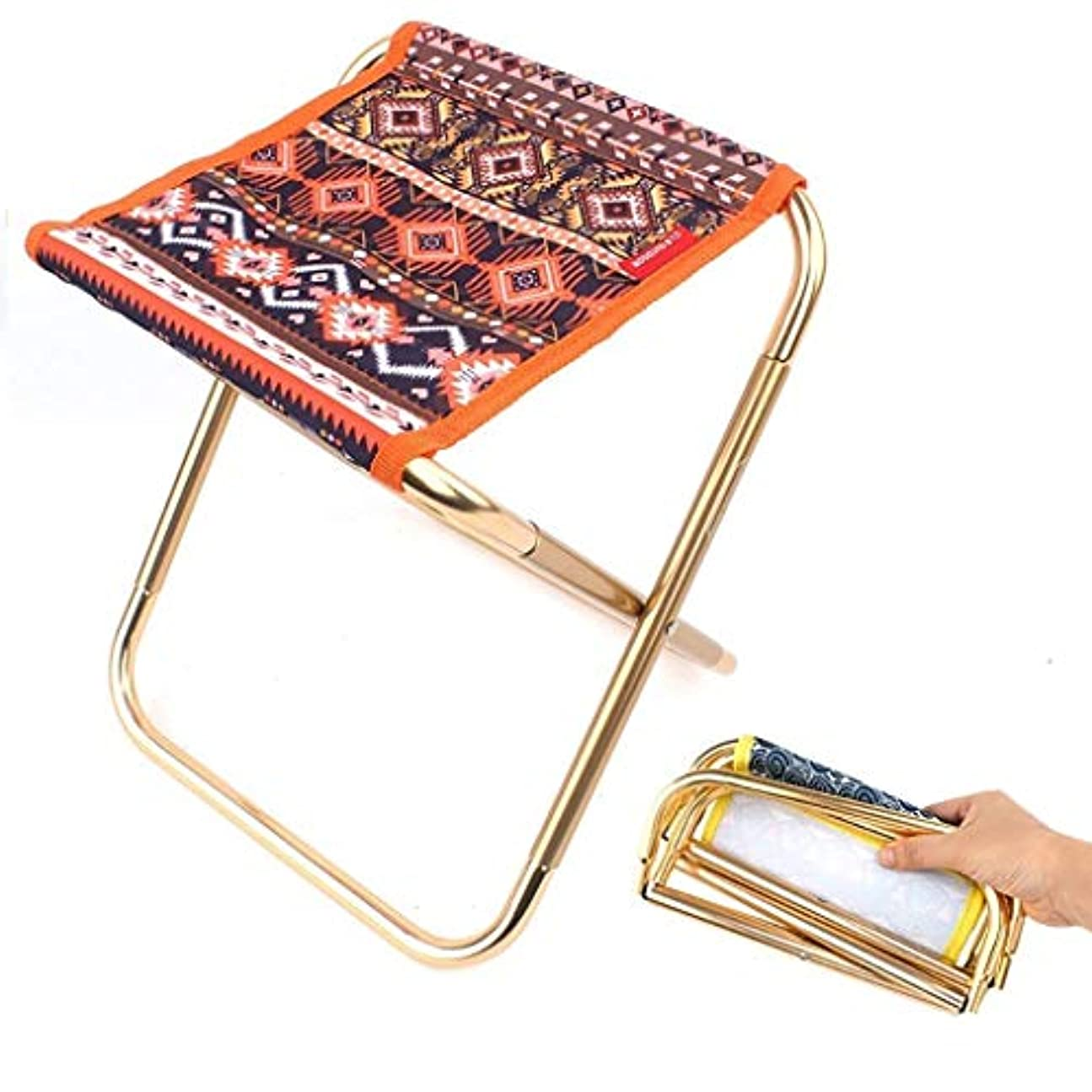 減少周辺くるくるポータブル折りたたみ金属スツール小さな椅子釣りマザール屋外バーベキュー列車鉄ベンチスケッチスツール (色 : 赤)